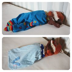 Valentins Hose und Schlafsack aus Stoffresten / Valentin's trousers and sleeping bag made from scraps of fabric / Upcycling