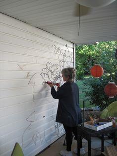 """Painted Patio Wall Transformation - Our New """"Secret Garden"""" Outdoor Wall Paint, Patio Wall, Outdoor Walls, Garden Fence Art, Garden Mural, Painted Garden Sheds, Backyard Retreat, Backyard Patio, Garden Drawing"""