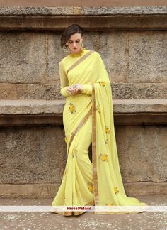 Yellow floral sareespalace