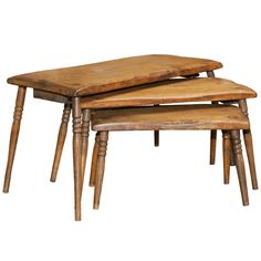 Set Of Three Oak Nesting Tables, English Circa 1880 $1,850