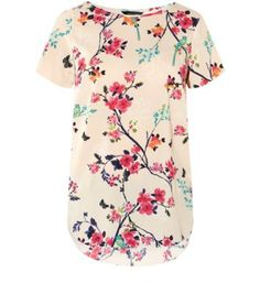 Cream and Pink Floral Bird Print Longline T-Shirt