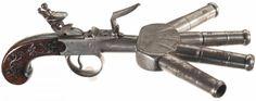 18th century flintlock duckfoot pistol