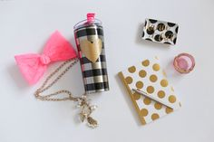 Gifts from Bobbi's Hallmark chic, girlie,polka dot, gold heart tumbler