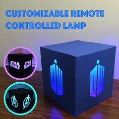 Customizable Remote Controlled Lamp<<<at first I thought it could display the avengers, Star Wars, and doctor who. It doesn't but I really wish it did