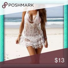 L bikini cover up New in package, more of off white color, lace flower detail, boutique branded plz note Victoria's Secret Swim Coverups