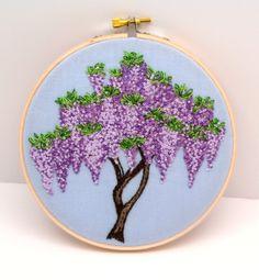 Wisteria Hand Embroidery Hand Stitched by LaurelSusanStudio, $150.00