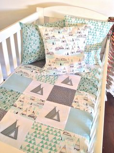 Image of Indian Summer Teepee Baby boy patchwork quilt