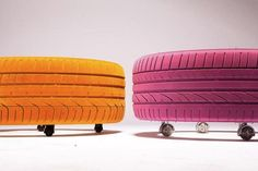 Stylish Tables Made Of Brightly Painted Car Tires