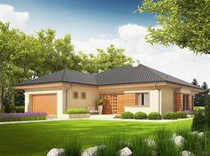Projekt domu Eris II (wersja C) energo Modern Family House, Modern Bungalow House, Bungalow Homes, Bungalow House Plans, Dream House Plans, Modern House Design, Country Home Exteriors, 2 Storey House Design, House Plans 3 Bedroom
