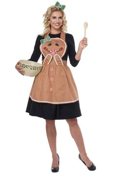 Gingerbread Apron Adult Costume Feeling festive, but don't want to put on a whole costume? Dress up for Christmas dinner in our Gingerbread Apron and . Xmas Costumes, Adult Costumes, Costumes For Women, Pirate Costumes, Couple Costumes, Group Costumes, Diy Christmas Costumes, Princess Costumes, Halloween Apron