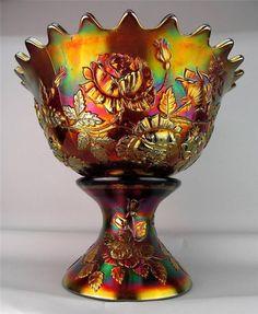 WREATH OF ROSES / PERSIAN MEDALLION ~ FENTON AMETHYST CARNIVAL GLASS PUNCH BOWL #Fenton
