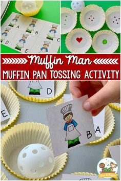 Muffin Man Tossing Activity for preschool. Incorporating nursery rhymes and other rhyming games is a great way to develop literacy skills. This game connects with the Muffin Man and encourages building literacy and letter recognition skills. Children can begin to recognize the differences in the letter shapes (visual discrimination). They can name the letters. You can focus on just uppercase or lowercase. Or you could mix these letters for older preschoolers, helping them master the letters. Nursery Rhyme Crafts, Nursery Rhymes Preschool, Preschool Literacy, Literacy Skills, Kindergarten Classroom, Preschool Ideas, Gross Motor Activities, Kids Learning Activities, Learning Centers