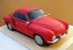 Karmann Ghia Cake omg I can die a happy woman! Bike Cakes, Truck Cakes, Fondant Cakes, Cupcake Cakes, Cupcakes, Beautiful Cakes, Amazing Cakes, Carros Audi, Motorcycle Cake