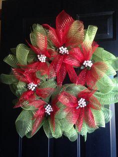 Poinsettia Deco Mesh Wreath $40 Deco Mesh Wreaths, Craft Sale, Crafts To Do, Poinsettia, Christmas Wreaths, Holiday Decor, Create, Home Decor, Decoration Home