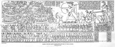 "This drawing of a relief shows the Egyptian pharaoh Rameses III defeating the invading ""Sea Peoples."" Rameses has stepped down from his chariot and with the help of just a few soldiers, defeats a chaotic mass of enemies, who are then led away as prisoners."