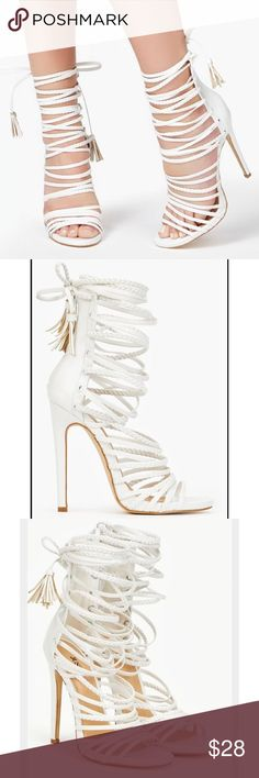 Zara White lace up heels Never worn white heeled lace up sandals. Shoes are from justfab not Zara. Zara Shoes Heels