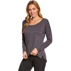 Marika Balance Sparrow Long Sleeve After Yoga Top (€19) ❤ liked on Polyvore featuring activewear, activewear tops, marika activewear, shelf bra, balcony bra, yoga activewear and marika sportswear
