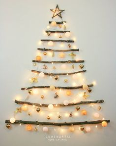 Christmas Decor DIY Ideas To Get Crafting for the Holidays Right Now! - Hello Lovely : Driftwood Christmas tree - CLICK OVER to find Christmas Decor DIY Ideas to Get Crafting for the Holidays Right Now as well as Decorating ideas! Driftwood Christmas Tree, Creative Christmas Trees, Hanging Christmas Tree, Indoor Christmas Decorations, Christmas On A Budget, Simple Christmas, Christmas Holidays, Christmas Crafts, Christmas Ornaments
