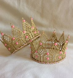 Items similar to GOLD LACE Crown/cake Topper/Photography Prop/Princess Crown/Gold Crown/handmade/Cake Mash Topper/eady to ship on Etsy Diy Cake Topper, Birthday Cake Toppers, Sweet 16 Decorations, Bead Studio, Red Carpet Party, Lace Crowns, Diy Crown, 1st Birthday Girls, Birthday Crowns