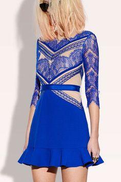 Slim flounced dress lace stitching_Dresses(d)_DESIGNER_Voguec Shop
