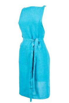 Harmony - Tablier de cuisine en lin lavé Nais - 100% lin lavé stone wash - Turquoise - 70*90 cm - Home Beddings and Curtains