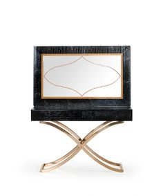 "A&X Aversa Modern Black Crocodile Console Table & Mirror VGUNCK423-120-BLK Product:?ÿ70822 Features : Black Crocodile Textured Finish 2 Drawers Rosegold Stainless Steel Base Black Crocodile & Light Brown Mirror Frame Copper Mirror Design Dimensions: Console Table?ÿ: W47"" x D16"" x H30 Mirror : W30"" X H 47"""