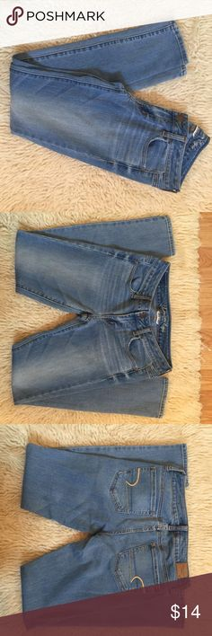 American eagle super stretch jeggings American eagle super stretch jeggings size 4. Light wash cotton blend. Waist 14 (26 around) inches hip to bottom of pants: 36 inches crotch to bottom of pants: 29 inches thanks for looking American Eagle Outfitters Jeans Skinny