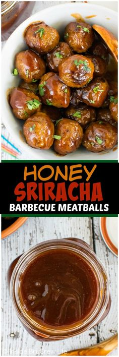 Honey Sriracha Barbecue Meatballs - the homemade bbq sauce gives a great sweet & spicy flavor to these meatballs. This is an awesome appetizer recipe for parties or picnics!