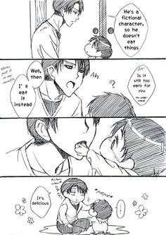 Levi, Eren, baby, cute, comic, text; Attack on Titan