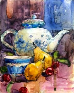 Watercolor - Teapot and Pears, painting by artist Julie Ford Oliver