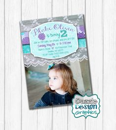 This sweet purple and teal birthday invite is a spin from our most popular Shabby Chic birthday invitation.possible bday invitation! Shabby Chic Birthday Party Ideas, Birthday Ideas, Purple Birthday, Birthday Invitations, Invites, The Design Files, 6 Photos, Kids Events, Print Packaging