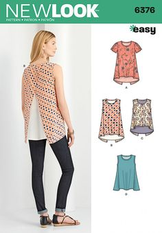 New Look 6376 Misses' Tops with Length Variations Sewing Pattern