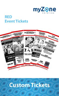 myZone event ticket printing specializes in fast, secure & affordable printing services.  We print custom event tickets with advanced security features to keep the counterfeits away. Our classic custom event ticket printing is the perfect choice for festivals, schools, sporting and any other events. Their clean and simple design allows your event graphics/details to stand out front and center while providing a range of fraud prevention features. These include holographic foils, thermal… Sporting Event Tickets, Ticket Printing, Ticket Design, Holographic Foil, Heritage Center, Printing Services, Simple Designs, Festivals, Schools