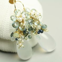 Aquamarine Flower 18k Solid Gold Earrings Milky by fussjewelry, 672usd