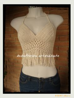 Top Cropped em croche. feito com linha 100% algodão. Feito por mim. www.elo7.com.br/kukafreskaartesanato