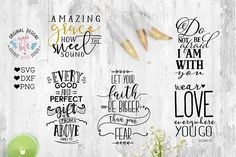Ad: Bible Verse / Scripture Bundle by Graphic House Design P.C on Bible Verse / Scripture Bundle Cut Files available in available in SVG, DXF and PNG version that allows you to use your file across a wide Business Brochure, Business Card Logo, Pencil Illustration, Graphic Illustration, Site Website, Social Media Quotes, Illustrations, School Design, Bible Verses