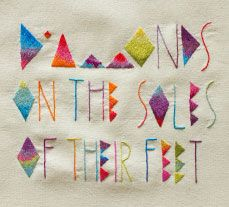 paul simon in embroidery? gah! (part of a series of mixed up lyrics)- artist said the lyrics mention shoes but they prefer to be barefoot... touche.