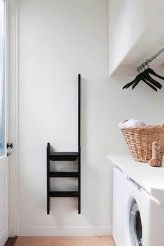 REF: laundry hanging Elwood House by Robson Rak Architects & Made by Cohen, Melbourne Laundry Room Wall Decor, Laundry Room Shelves, Laundry Room Organization, Laundry Room Design, Room Decor, Laundry Storage, Laundry Nook, Laundry Baskets, Laundry Closet