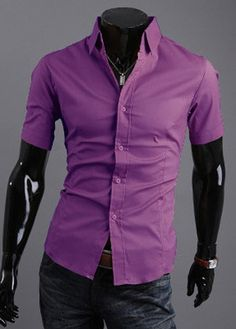 Handsome Single Breasted Short Sleeve Shirts for Work – teeteecee - fashion in style