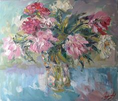 Still life oil painting on canvas palette by GalleryGreenApple