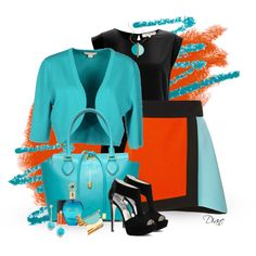 "Never thought of putting turquoise and orange together.... Love the turquoise leather handbag and the those black heels, very chic! For heavier stains on smooth leather, use http://www.amazon.com/gp/product/B00HWB25J4 ""Colorblock Wrap Skirt"" by diane-hansen on Polyvore"