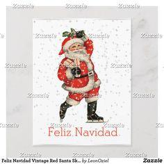 Shop Feliz Navidad Vintage Red Santa Skating Spanish Holiday Postcard created by LeonOziel. Christmas Holidays, Christmas Crafts, Merry Christmas, Spanish Holidays, Holiday Postcards, Vintage Santas, Vintage Christmas Cards, Vintage Gifts, Skating