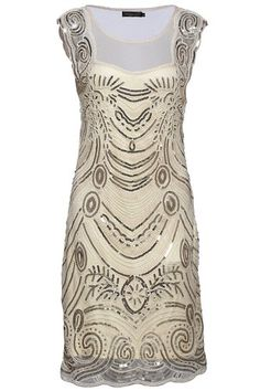 Babeyond Women's Flapper Dresses 1920s Sequined Beaded Great Gatsby Dress (Large, Beige)