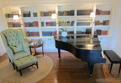 library room design with grand piano | ... kind of like this baby-grand-piano-in-library.jpg 1,000×689 pixels
