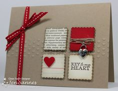 Brown Kraft Valentine Card... with little squares & a metal locket embellishment.