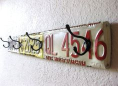 "Upcycled License Plate Wall Coat Rack ~ 34.75"" Long ~ Mancave decor, Garage decor, Industrial home decor, Boy's room decor on Etsy, $78.00 by cristina"