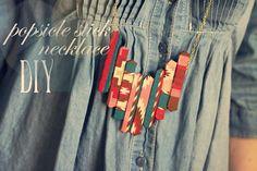 popsicle stick necklace DIY via Sincerely, Kinsey
