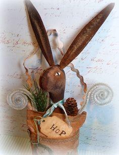 #Primitive Rabbit Easter Pouch Folk Art #Easter Decoration. $49.00, via Etsy. #handmade