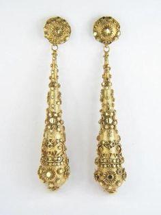 Antique Australian 15K Gold Cannetille Crown Long Drop Earrings c1860 Boxed | eBay