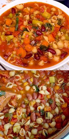 Minestrone soup cooks in one pot with a vegetable broth tomato base and then loaded with fresh vegetables, beans, and tender small shell pasta. Bean Soup Recipes, Vegetable Soup Recipes, Chicken Soup Recipes, Healthy Soup Recipes, Vegetarian Recipes, Cooking Recipes, Slow Cooker Recipes, Recipe For Bean Soup, Ministroni Soup Recipe
